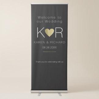 negro romántico simple y básico del boda pancartas retráctiles