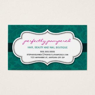 Negro rosado esmeralda del flourish con clase de tarjeta de negocios