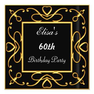 Negro simple de la invitación de la fiesta de invitación 13,3 cm x 13,3cm