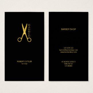 Negro simple de lujo del oro de la peluquería de tarjeta de negocios