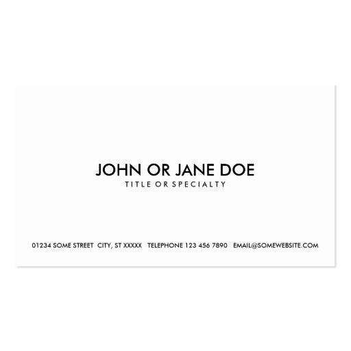 negro simple y blanco tarjeta de visita