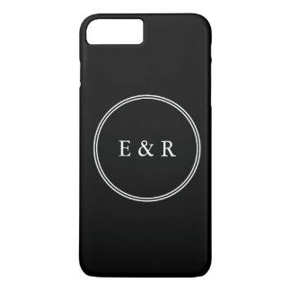 Negro sólido con el detalle blanco del boda funda para iPhone 8 plus/7 plus