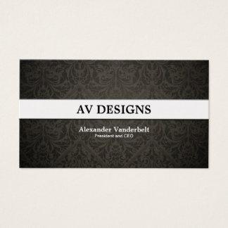Negro superior del damasco y tarjeta de visita del