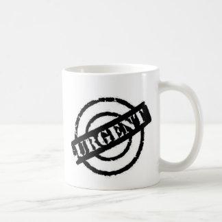 negro urgente del sello taza de café