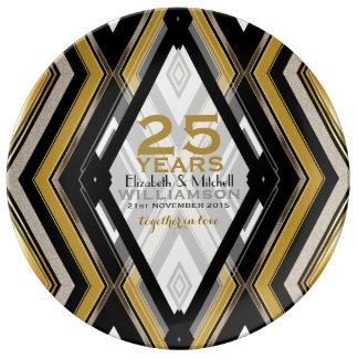 negro v1+Aniversario de la decoración del arte de Platos De Cerámica