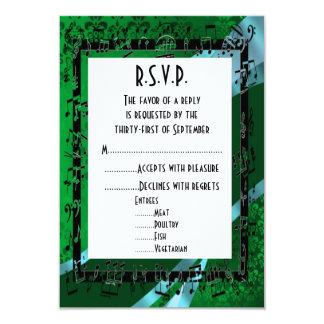 Negro verde R.S.V.P que se casa formal del damasco Invitación 8,9 X 12,7 Cm