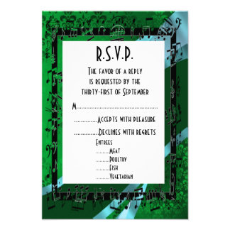 Negro verde R S V P que se casa formal del damasco Comunicados Personales