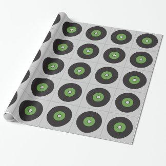 Negro verde y gris del disco de vinilo papel de regalo