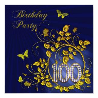 Negro y 100a fiesta de cumpleaños del oro invitación 13,3 cm x 13,3cm