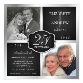 Negro y 25to aniversario de boda de la plata invitación 13,3 cm x 13,3cm