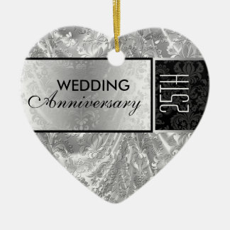 Negro y 25to ornamento 4 del aniversario de boda