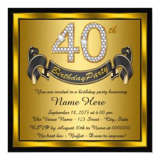 Negro y 40.a fiesta de cumpleaños del oro invitación 13,3 cm x 13,3cm