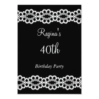 Negro y 40.a invitación de la fiesta de cumpleaños