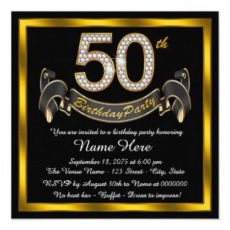 Negro y 50.a fiesta de cumpleaños del oro invitación 13,3 cm x 13,3cm