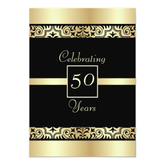 Negro y 50.a invitación de la fiesta de cumpleaños