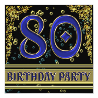 Negro y 80.a fiesta de cumpleaños del oro invitación 13,3 cm x 13,3cm
