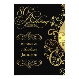 Negro y 80.a invitación de la fiesta de cumpleaños invitación 12,7 x 17,8 cm