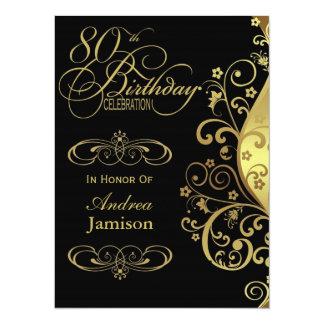 Negro y 80.a invitación de la fiesta de cumpleaños invitación 13,9 x 19,0 cm