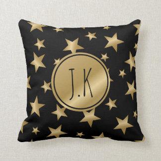 negro y almohada con monograma del amortiguador de cojín decorativo