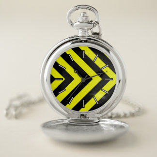 Negro y amarillo Chevron-Como el reloj de bolsillo