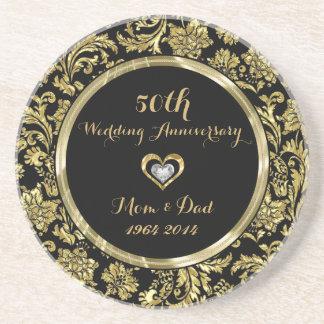 Negro y aniversario de boda de los damascos 50.os apoyavasos