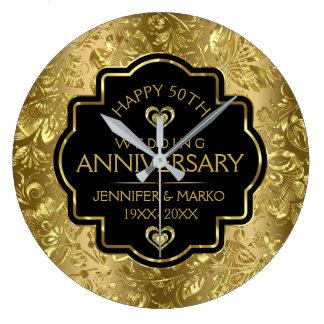 Negro y aniversario de boda de los damascos 50.os reloj redondo grande
