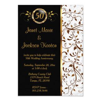 Negro y aniversario del oro 50.o para la caída invitación 12,7 x 17,8 cm