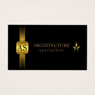 Negro y arquitectura del compás del arquitecto del tarjeta de negocios