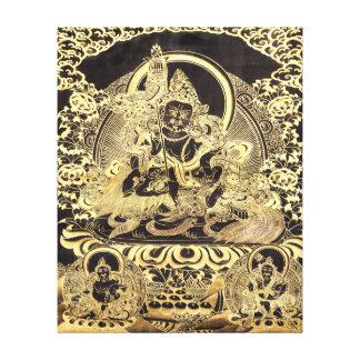 Negro y arte budista tibetano del oro lona estirada galerias