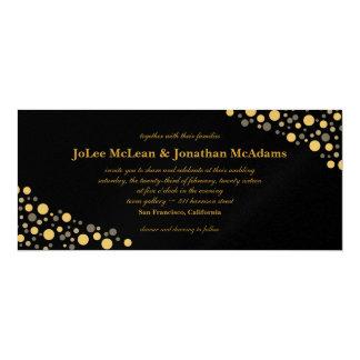 Negro y banquete de boda del confeti del oro invitación 10,1 x 23,5 cm