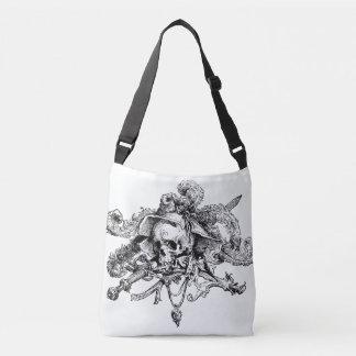 Negro y blanco de lujo del cráneo y del pirata de bolsa cruzada