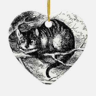 Negro y blanco del gato de Cheshire Adorno Navideño De Cerámica En Forma De Corazón