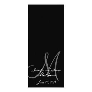 Negro y blanco del monograma del programa de la invitación 10,1 x 23,5 cm