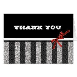 Negro y blanco gracias las notas tarjeta de felicitación