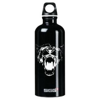 Negro y blanco oiga mi rugido - botella de agua de
