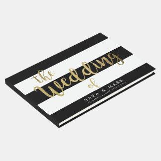 Negro y blanco raya el libro de visitas del boda