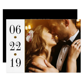 Negro y boda de encargo de la foto de la fecha el invitación 12,7 x 17,8 cm