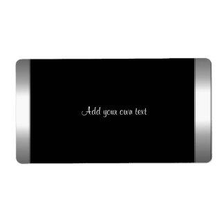 Negro y borde de plata de la etiqueta autoadhesiva