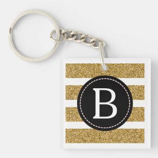 Negro y brillo del oro (elija el color de fondo) llavero cuadrado acrílico a doble cara