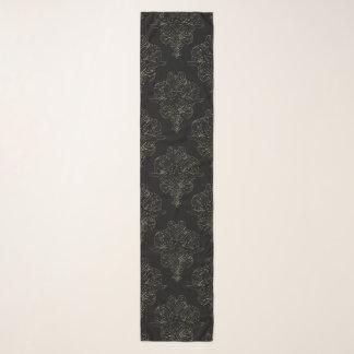 Negro y bufanda floral de la gasa del damasco del