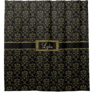 Negro y cortina de ducha personalizada damasco del