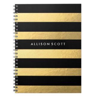 Negro y cuaderno personalizado oro