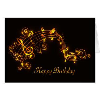 Negro y cumpleaños de las notas musicales del oro tarjeta de felicitación