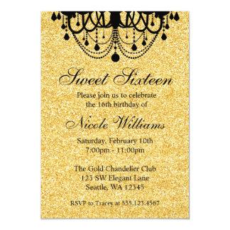 Negro y cumpleaños del dulce 16 de la lámpara del invitación 12,7 x 17,8 cm