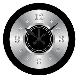 Negro y de plata de moda reloj redondo grande