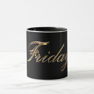 Negro y día de la tipografía del oro de la semana taza