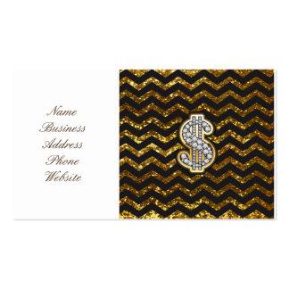 Negro y diamante de Chevron del oro y muestra de Tarjetas De Visita