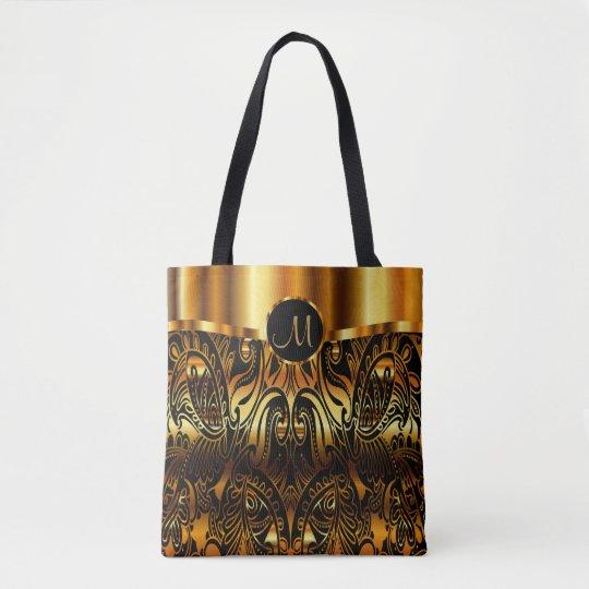 Negro y diseño de Paisley del oro Bolsa De Tela