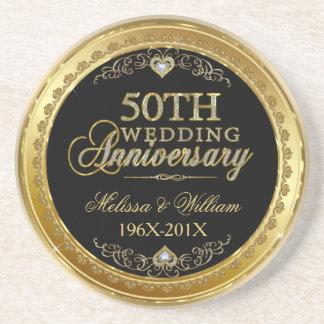 Negro y diseño del aniversario de boda del oro posavasos de arenisca