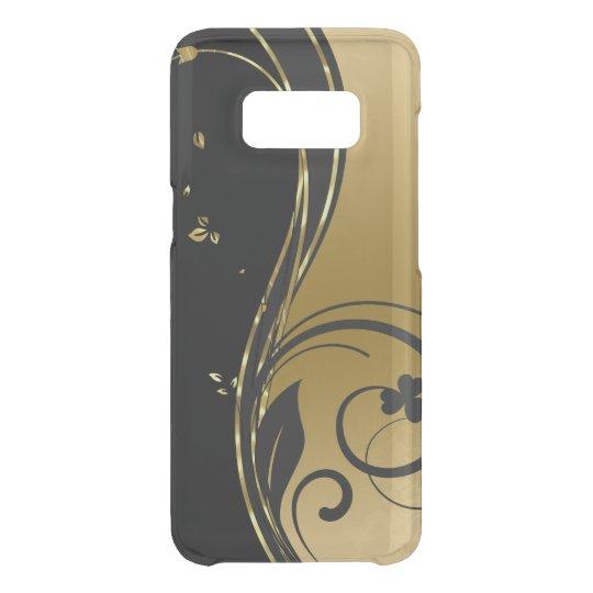 Negro y diseño floral de los remolinos del oro funda para samsung galaxy s8 de uncommon
